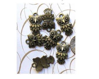 Set of 10 OWL charms (R08) bronze