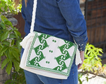 Handmade Clutch Bag from Vintage Hellenic Handcrafted Embroidery
