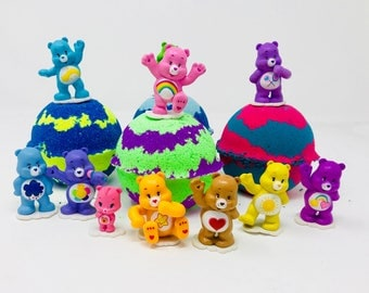 Sale! Five 7.0 oz Care Bear Inspired Bath Bomb Birthday Gift Sets Party Favor with Toy Figures