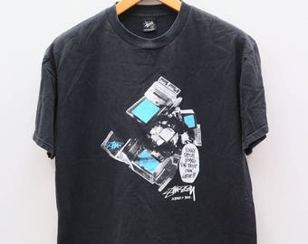 Vintage STUSSY Funky Fresh Gear For Those Livin Large Black Tee T Shirt Size M