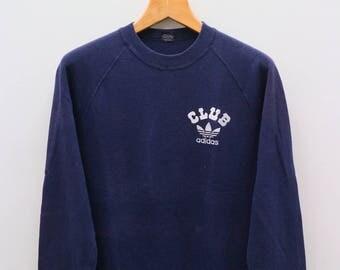 Vintage ADIDAS Club Treline Small Logo Sportswear Blue Sweater Sweatshirt