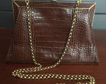 Escada Vintage Alligator Embossed Leather Handbag