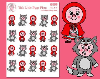 Little Red Riding Hood - Big Bad Wolf - Planner Stickers - Fairy Tale Character Stickers - Pig Stickers - This Little Piggy - [Misc. 1-78]