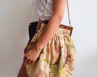 1930's Large Vintage Framed Floral Flowers Handbag Purse Summer Holiday Beach Faux Tortoiseshell Early Plastic