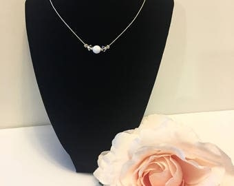 Crystal Bead Necklace, Crystal Pendant Necklace, Floating Bead Necklace, Invisible Necklace, Crystal Necklace, Crystal Clear Pendant