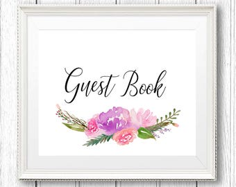 Guest Book Printable, Wedding Guest Book Print, Wedding Printable, Digital Print, DIY Wedding, Guest Book Sign, Guest Book Poster
