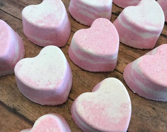 Heart Bath Fizzie, Bath Bomb, Valentine's Day, Pink, Antique Lace Scent, Party Favor, Gifts Under 10, Valentine Party, Gifts For Her