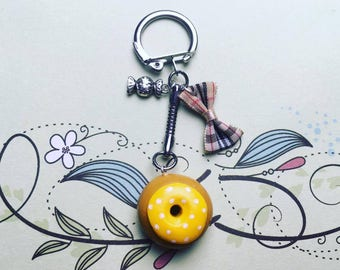 Yellow with white dot - polymer clay Donut keychain