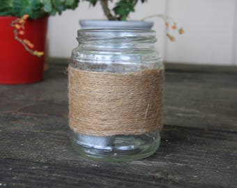 medium glass jar-twine wrapped jar-tiny wedding centerpieces-candle votive-twine wrapped candle-ranch wedding decor-twine vase