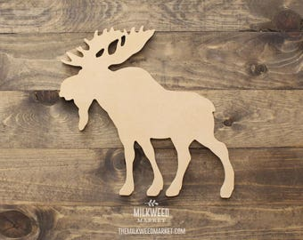 Moose Silhouette Cutout Sign, Unfinished