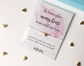 Wish bracelet, Make a Wish Bracelet, Heart Charm String, Watercolor Gift Card, Gift Love Bracelet, Girlfriend Wishbracelet, Gift for Her OMG