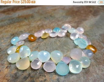 50% OFF SALE-- Pastels!!!  Multi Chalcedony heart briolettes/9x9-11x11mm/ 7 inches long