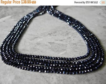 76% Off Sale--- Black spinel faceted rondelles 3mm/12 inches long