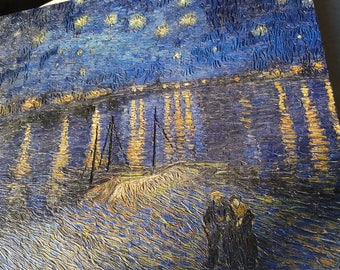 UNMISTAKABLE reproduction of Vincent Van Gogh's Starry Night Over the Rhone/ description for details
