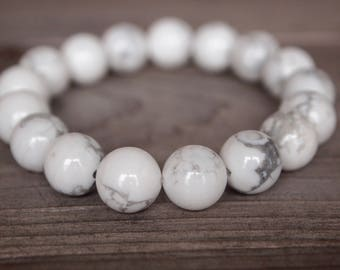 10mm White Howlite Beaded Bracelet