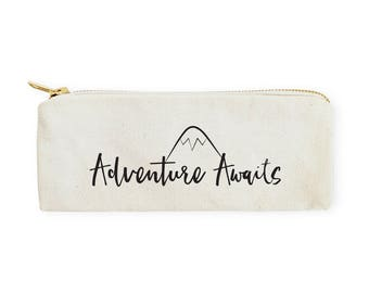 Cotton Canvas Adventure Awaits Pencil Case and Travel Pouch for Back to School, Supplies, Paper Goods, DIY, Zipper Pouch, Makeup Bag, Case