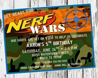 Nerf Birthday Invitation, Nerf Gun Party, dart gun bday invite, camo, camoflauge, nerf wars, digital invitation, printable invitation, pdf