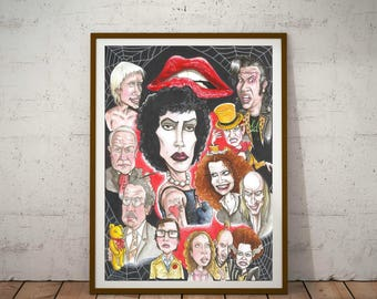 The Rocky Horror Picture Show, Eco friendly, Cult Caricature A3 Print/Poster