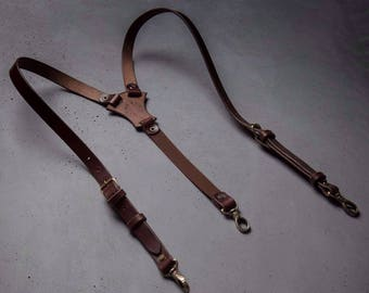 Leather suspenders Brown Wedding suspenders by Kruk Garage Handcrafted Mens gift Groomsmen suspenders Christmas gift FREE PERSONALIZATION