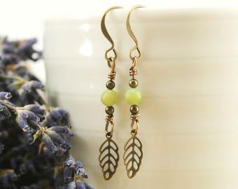 Serpentine and Leaf Drop Earrings - Antique Brass, Gemstone Earrings, Leaf Earrings, Boho Earrings, Bohemian Earrings, Long Earrings