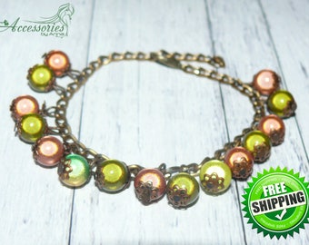 Green Beige Bronze Chameleon bracelet Chameleon jewelry Magic bracelet Sparkle Glitter beads bracelet Holiday Christmas gift idea bracelet