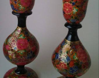 Vintage Russian Hand-Painted Black Lacquer Floral candlestick holders