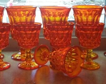 Fire Orange Diamond Cut Goblet Set of of 15