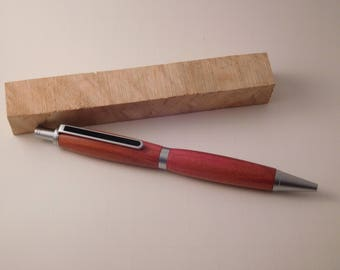 Hand Turned Slimline Click Pen in Pink Ivory