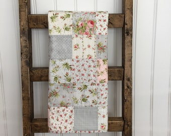 Floral baby crib quilt  Shabby chic baby blanket  Gray and white baby crib quilt  Baby shower gift Girls playmat   Crib quilt for girls