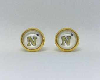 US Naval Academy Cabochon Earrings