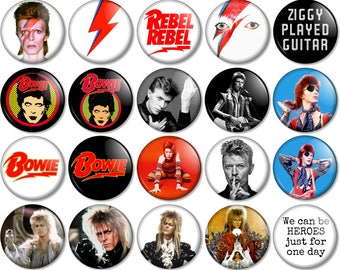 """David Bowie 25mm / 1"""" (1 inch) Pin Button Badge - Various designs Ziggy Stardust Music We Could Be Heroes Starman Labyrinth Aladdin Sane"""