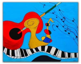 "Music Instruments Art Handmade Original Acrylic Painting on Canvas 40x50cm (16""x20"") Wall Art Modern Home Decor Ready to Hang Ready to Ship"