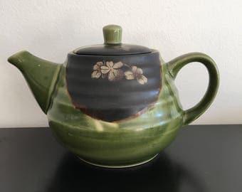 Vintage, Oriental Tea Pot, Olive Green Tea pot,Ceramic Tea Pot, Cherry Blossom, Green, Tea Pot,Oriental Decor, Japanese Tea Pot,Coffee Pot