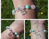 Birthday 18 21 30 silver charm Rose quartz Aqua jade and silver tone angel wings on adjustable cord bracelet