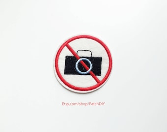 Patch NO PHOTO iron on embroidered applique paparazzi camera photography not allowed museum concert celebrities DIY custom bag fun