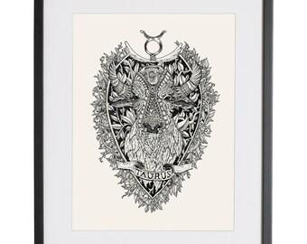 Taurus  Taurus art   Taurus Illustration   astrology   Illustration Print   Taurus  Star sign art   Sigil   floral  bull   Kitchen decor