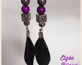 Black and purple feather earrings black