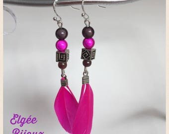 Earrings black and Pink - Pink feathers