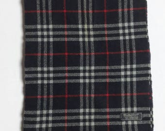 """Vintage Burberrys Plaid Pattern Nova Check Scarf 100% Lambswool Made in ENGLAND 12.5"""" X 68"""""""