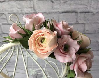 Blush Flower Crown Cherry Blossom Floral Hair Sacura Apple Wedding Flowers Bridal