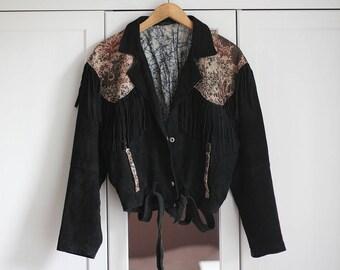 Leather Suede Biker Jacket Black Vintage Floral Pattern 1980s Fringes Boho Hippie Retro Look Genuine Women Oldschool Loose Fit / Large size