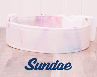 """White, Light Blue and Pink Marble Watercolor Dog Collar """"Sundae"""""""