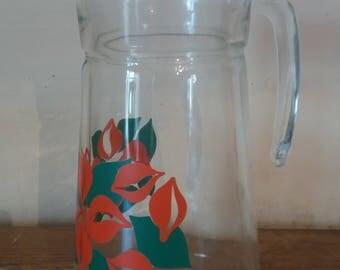 Large vintage glass pitcher, large water jug, vintage lemonade jug, with orange floral pattern, retro jug