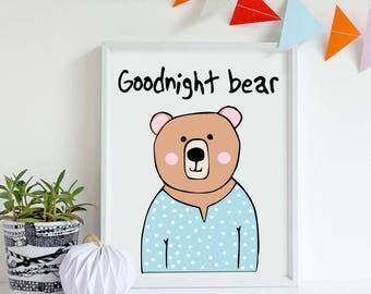 Bear print, Bear nursery art, baby's room print, bear art, nursery animal print, bear art, bear decor, bear nursery decor, cute bear, bear