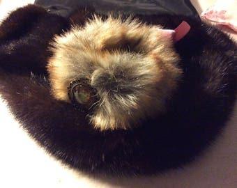 Bracelet Brown fake fur with Medallion