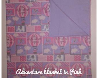 Hot Air Balloon baby receiving blanket in Pink