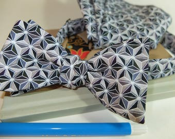 Geometric Grey Gift Bow Tie and Pocket Square. FREE Collar Stay and FREE SHIPPING