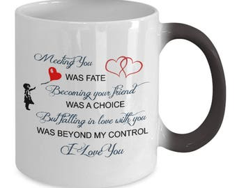 Meeting You Was Fate Color Changing Mug | I Love You Mug | I Love You Mug Black | Girlfriend Mug | I Love You Gifts | Fate Love | Valentine