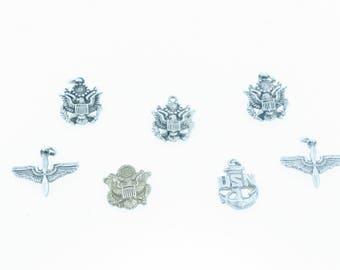 Lot of vintage Sterling Silver US Military Emblem charm/pendants