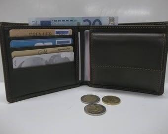 card holder, wallet, leather billfolds soft brown color